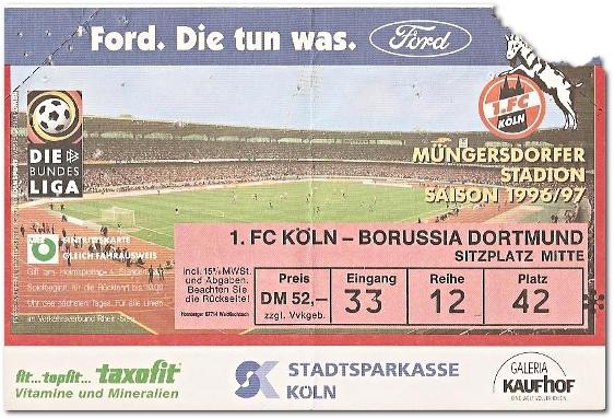 Eintrittskarte 1.FC Köln - Bor.Dortmund