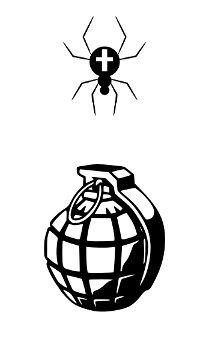 Handgranate gegen Spinne